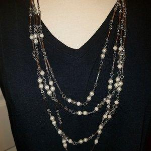 Costume jewelry necklace multi-tier